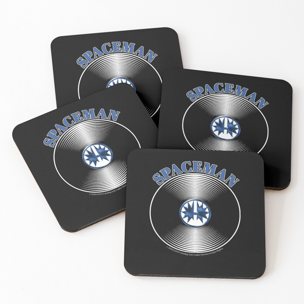 Blue Spaceman Artwork in Center of Vinyl Record - Kiss Coasters (Set of 4)