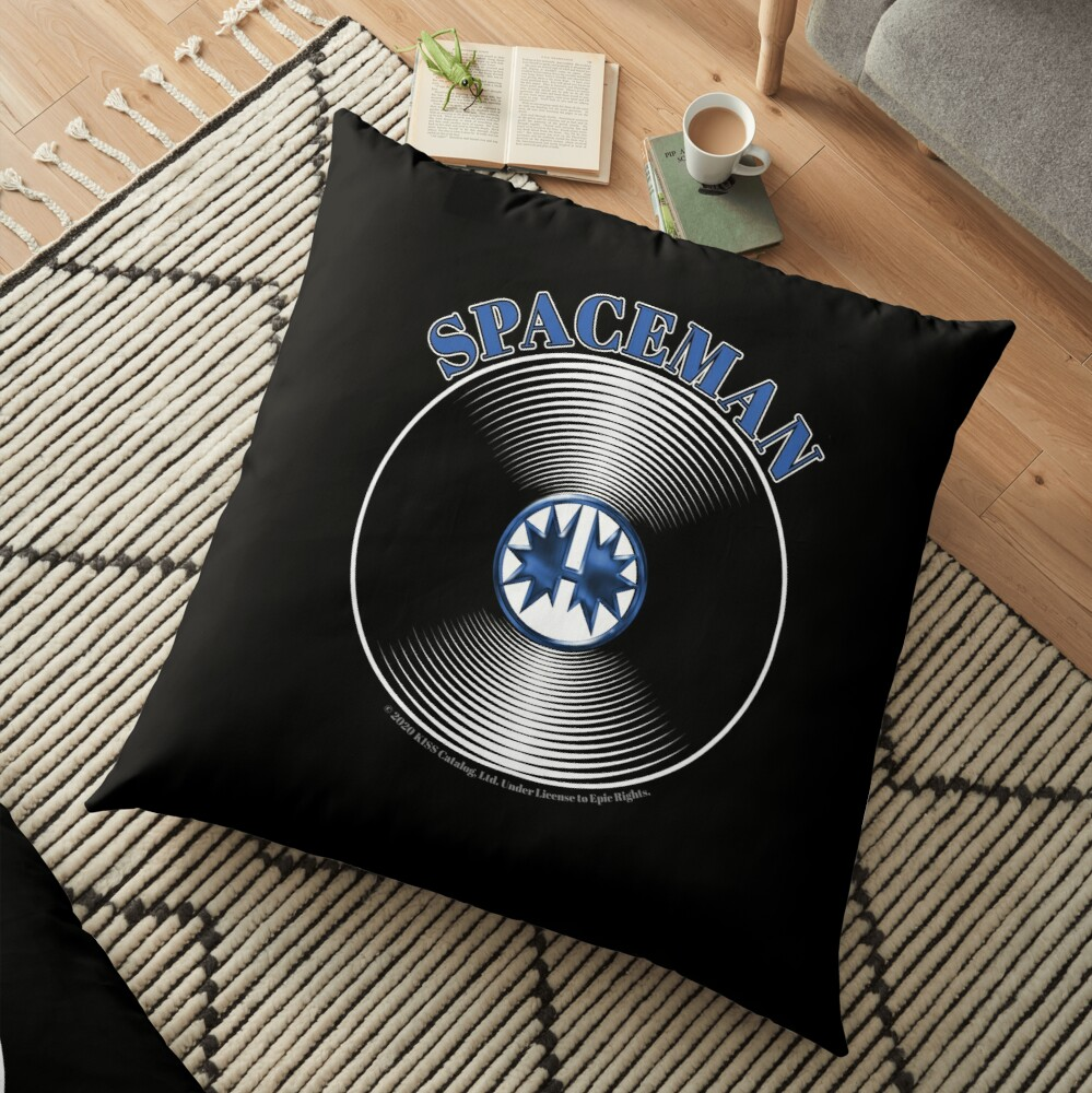 Blue Spaceman Artwork in Center of Vinyl Record - Kiss Floor Pillow