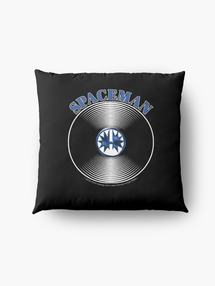 Alternate view of Blue Spaceman Artwork in Center of Vinyl Record - Kiss Floor Pillow