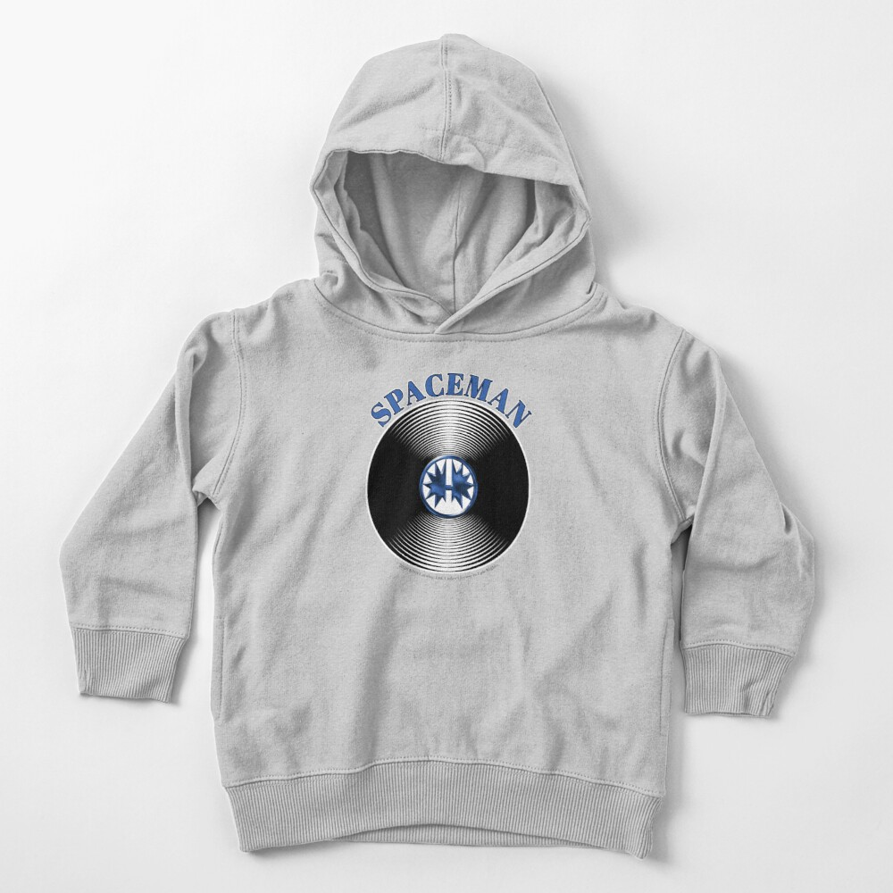 Blue Spaceman Artwork in Center of Vinyl Record - Kiss Toddler Pullover Hoodie