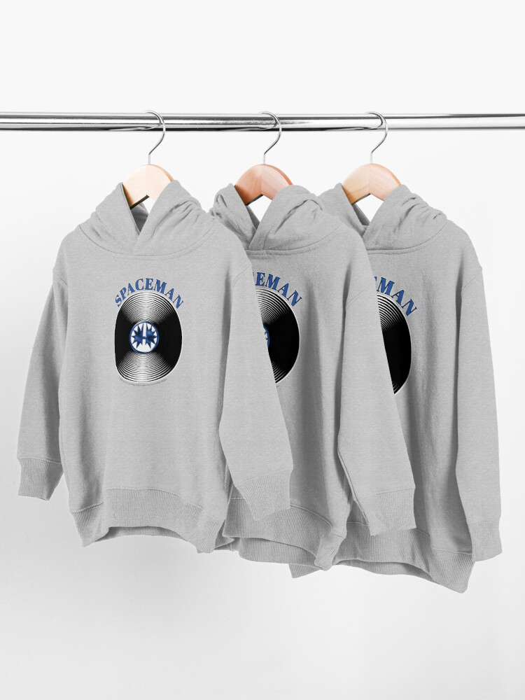 Alternate view of Blue Spaceman Artwork in Center of Vinyl Record - Kiss Toddler Pullover Hoodie