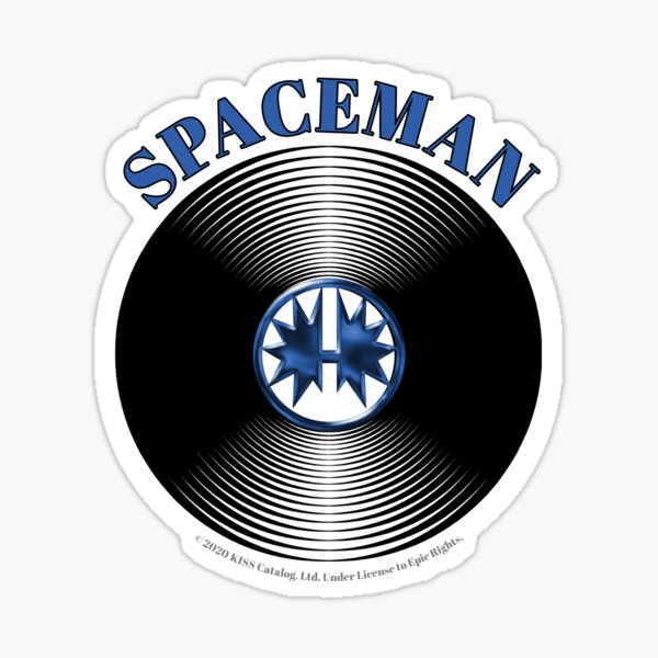Blue Spaceman Artwork in Center of Vinyl Record - Kiss Sticker
