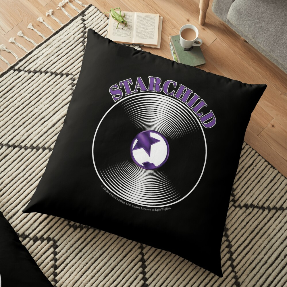 Purple Starchild Artwork in Center of Vinyl Record - Kiss Floor Pillow