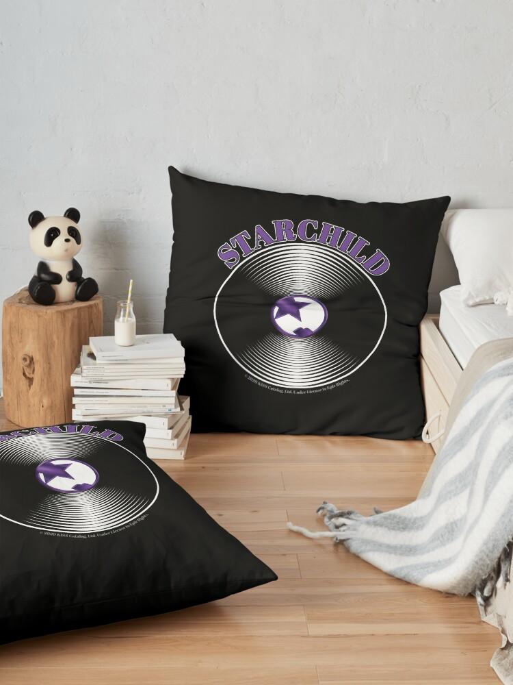 Alternate view of Purple Starchild Artwork in Center of Vinyl Record - Kiss Floor Pillow