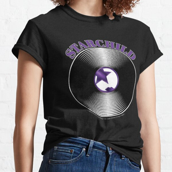 Purple Starchild Artwork in Center of Vinyl Record - Kiss Classic T-Shirt