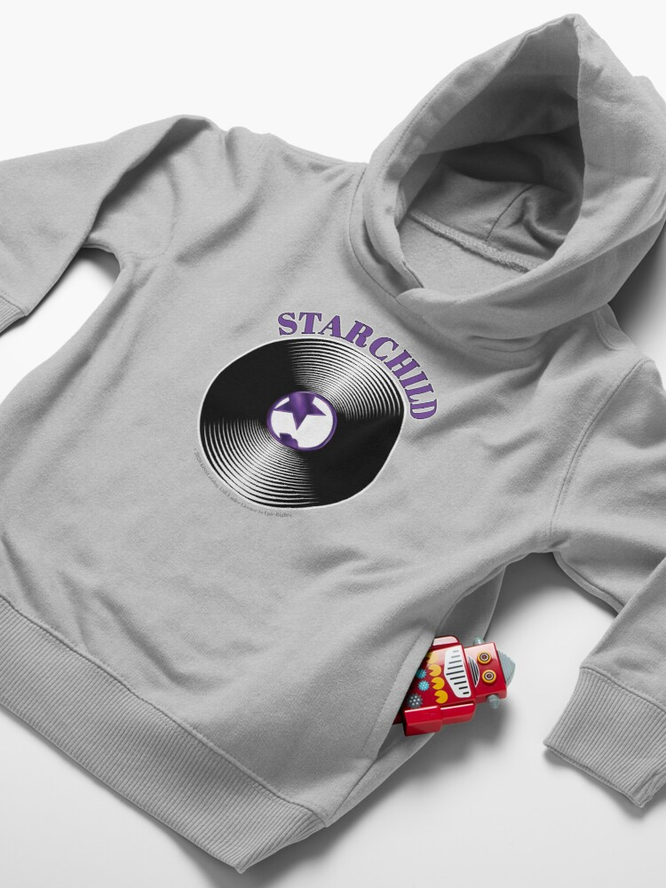 Alternate view of Purple Starchild Artwork in Center of Vinyl Record - Kiss Toddler Pullover Hoodie