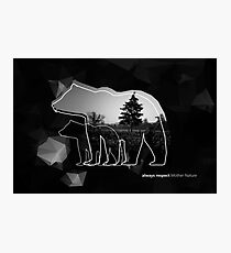 """Creative photo poster with double exposure with line icon of bear and text """"always respect Mother Nature"""". Dark forest in the middle on the low poly black background. Photographic Print"""
