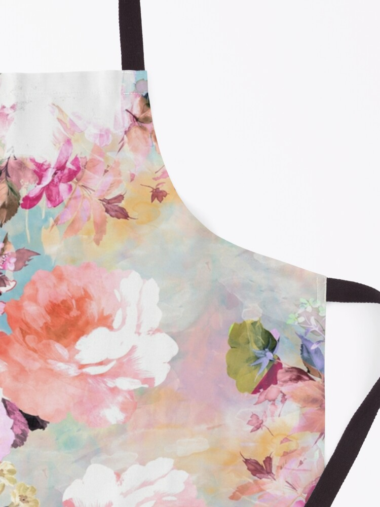 Alternate view of Romantic Pink Teal Watercolor Chic Floral Pattern Apron