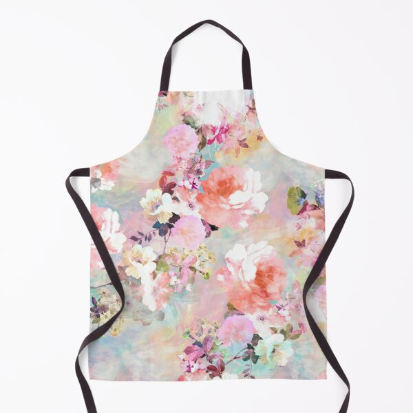 Romantic Pink Teal Watercolor Chic Floral Pattern Apron