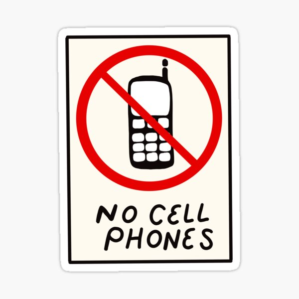 Luke's No Cell Phones Pattern Coffee Diner Pack Sticker
