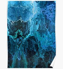 Blue Abstract Stone Textured Painting Poster