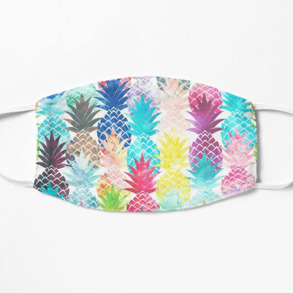 Hawaiian Pineapple Pattern Tropical Watercolor Flat Mask