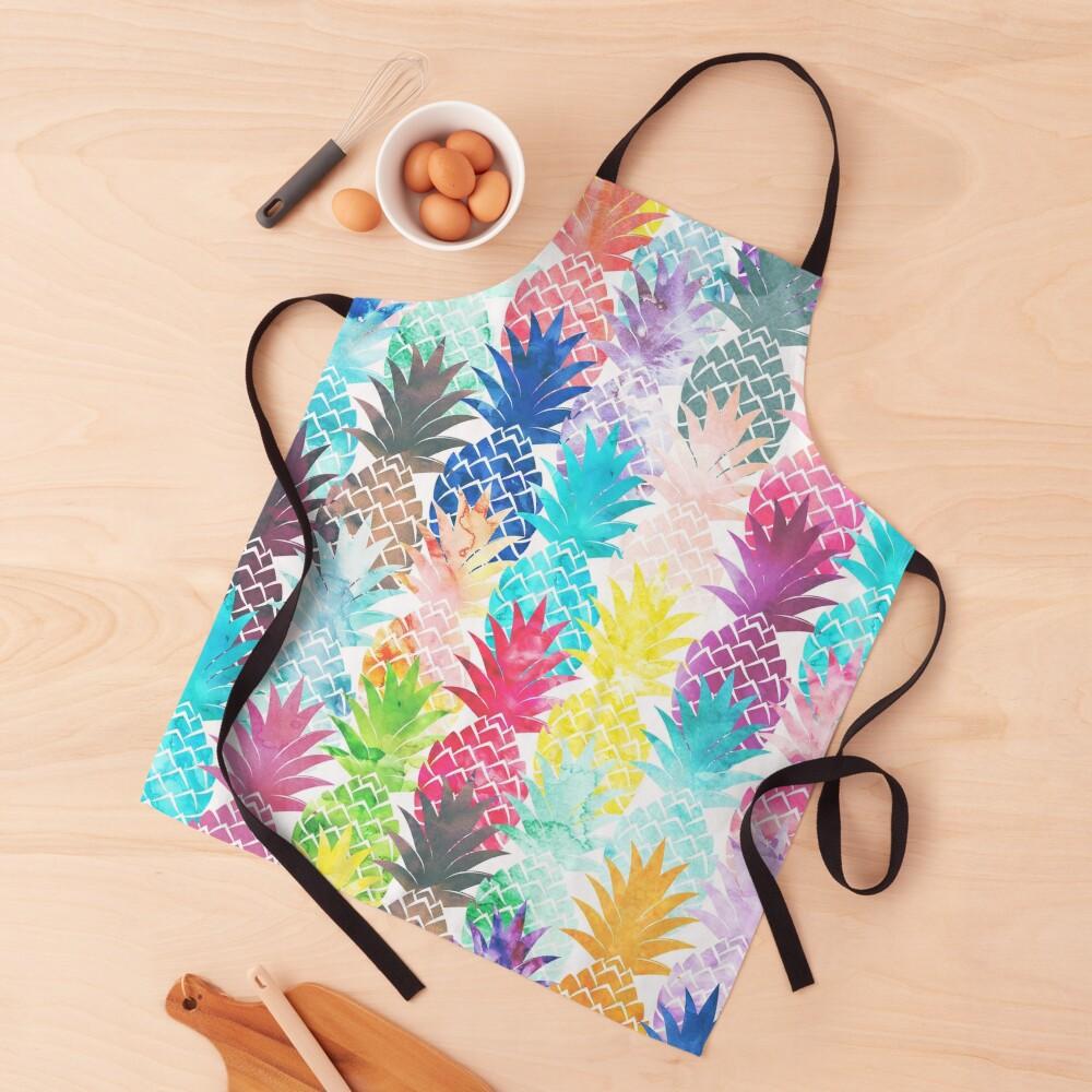 Hawaiian Pineapple Pattern Tropical Watercolor Apron