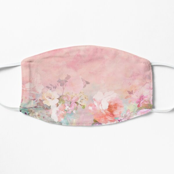 Pastel blush watercolor ombre floral watercolor Mask