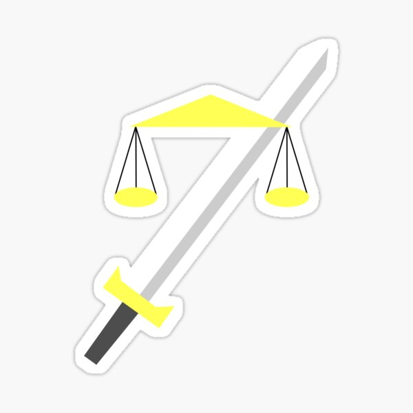 TempleOS HD minimalist logo libra and sword Sticker