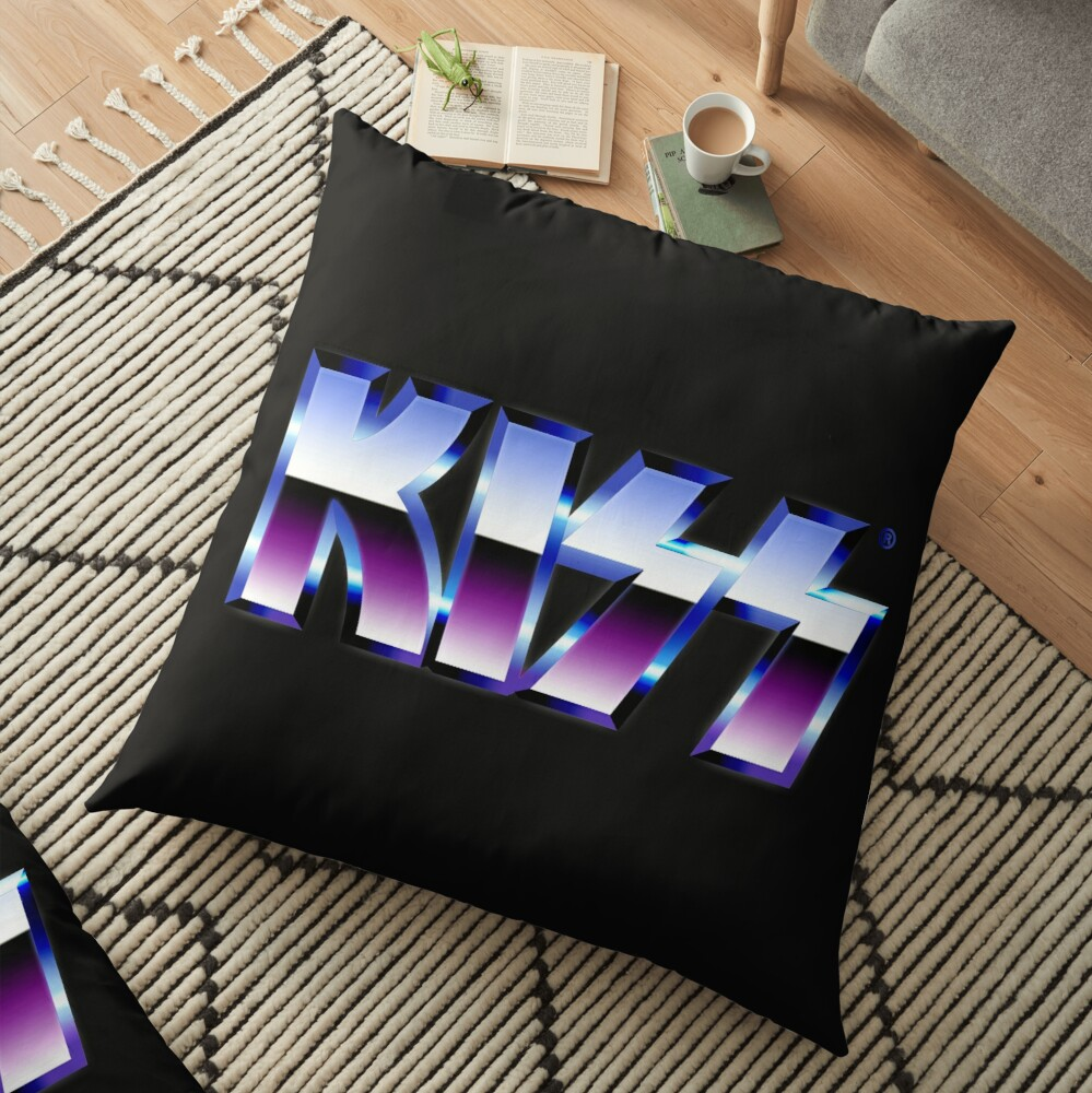 Kiss Logo Chrome Floor Pillow