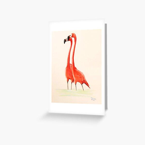 Pink Flamingo Couple Greeting Card