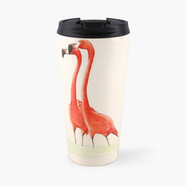 Pink Flamingo Couple Travel Mug