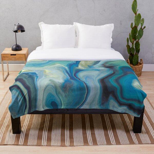 Cool Ocean Pools Marble Pattern - Blue Palette Throw Blanket