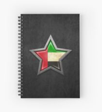 UAE Flag Inside of an Aged and Scratched Star Spiral Notebook