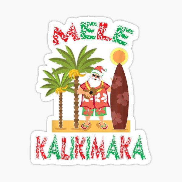 Mele Kalikimaka Hawaiian Santa Merry Christmas Sticker