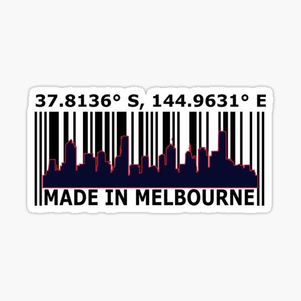 Made In Melbourne Austalia Barcode. Sticker