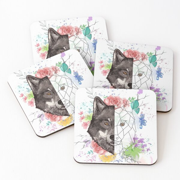 Watercolour Wolf Coasters (Set of 4)
