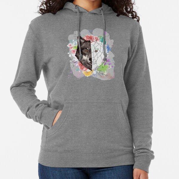 Watercolour Wolf Lightweight Hoodie