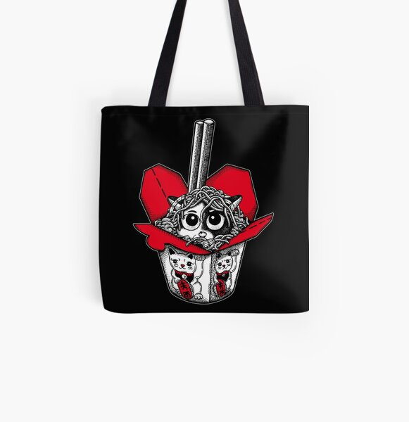 Lucky Cat Noodle Box All Over Print Tote Bag