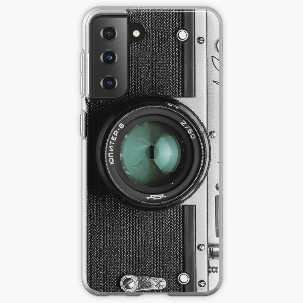 Vintage camera with turquoise lens for photographer gift Samsung Galaxy Soft Case