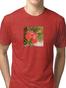 Beautiful Red Hibiscus Flower With Garden Background Tri-blend T-Shirt