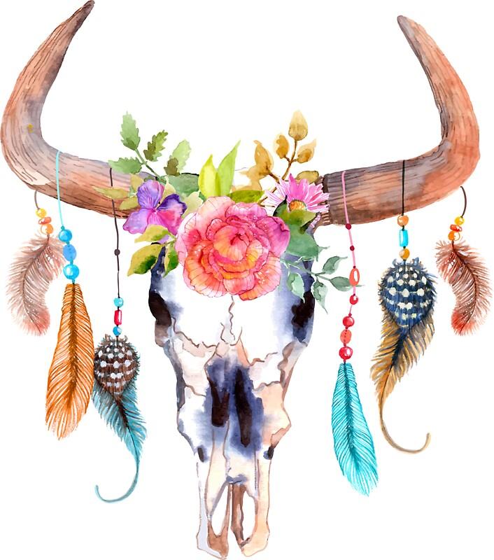 Quot Bohemian Watercolour Bull S Skull Quot Stickers By Joellis