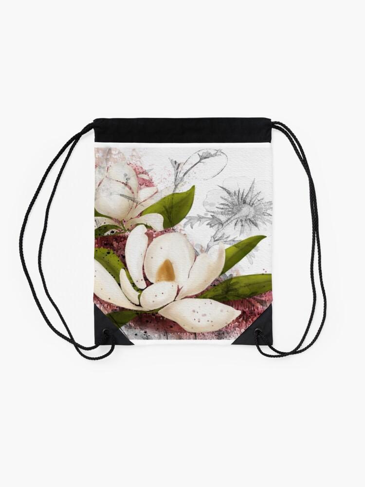 Alternate view of Magnolia in my head Drawstring Bag