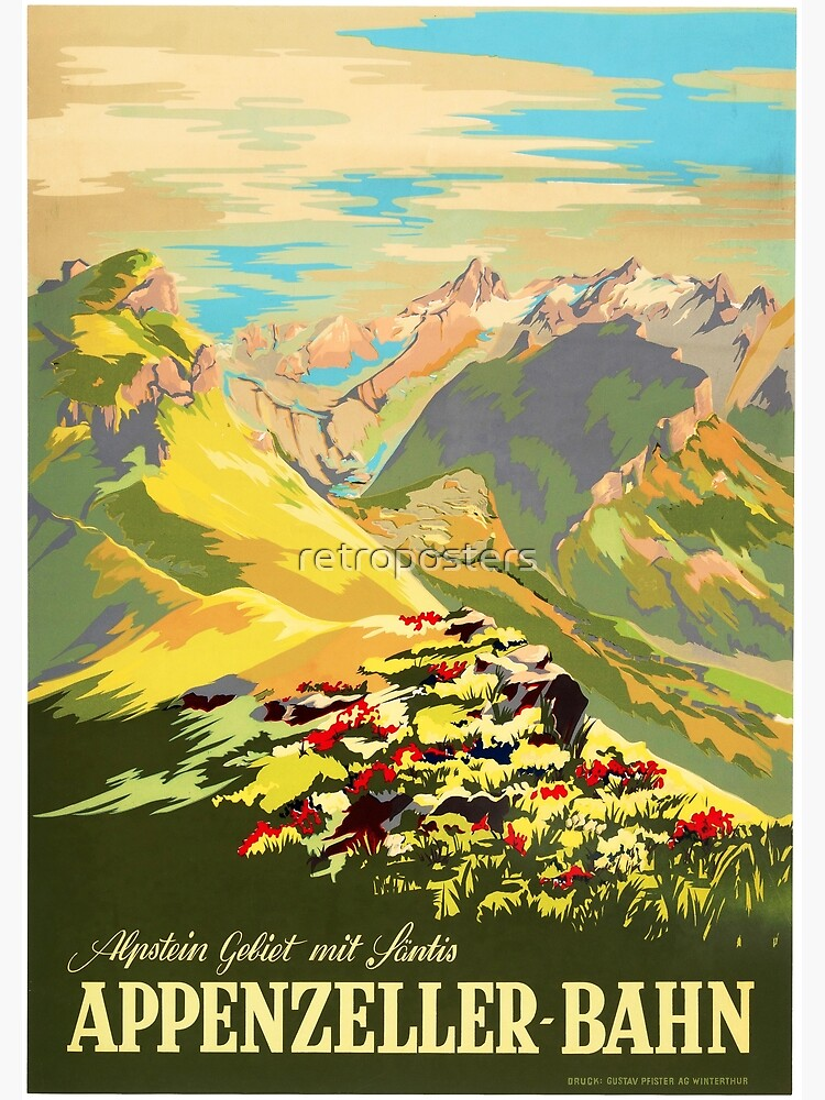 APPENZELLER BAHN Switzerland Appenzell Railways Vintage Travel Tourism Promotion  by retroposters