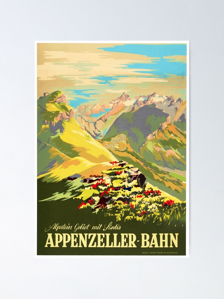 Alternate view of APPENZELLER BAHN Switzerland Appenzell Railways Vintage Travel Tourism Promotion  Poster