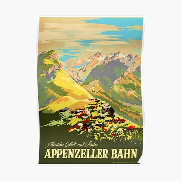 APPENZELLER BAHN Switzerland Appenzell Railways Vintage Travel Tourism Promotion  Poster