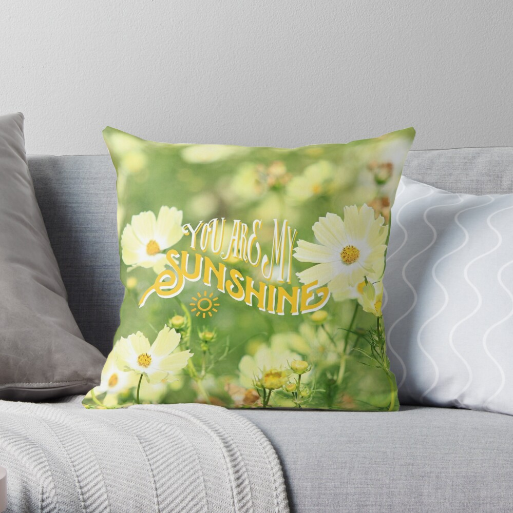 You Are My Sunshine Pretty Yellow Cosmos Flowers Throw Pillow