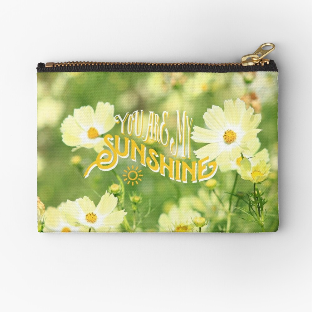You Are My Sunshine Pretty Yellow Cosmos Flowers Zipper Pouch