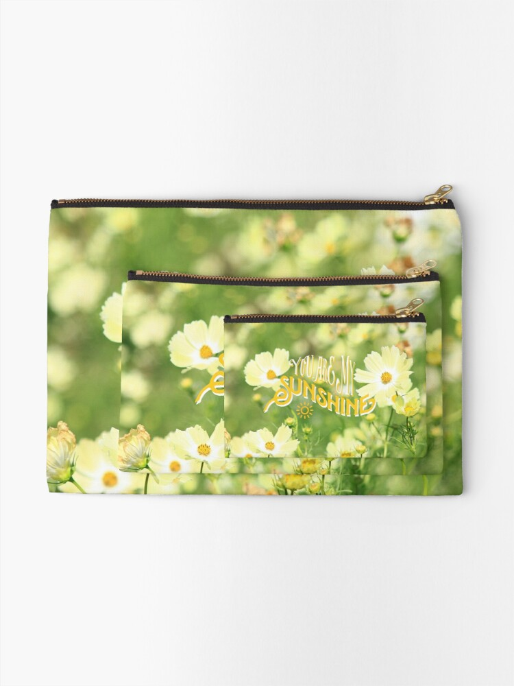 Alternate view of You Are My Sunshine Pretty Yellow Cosmos Flowers Zipper Pouch