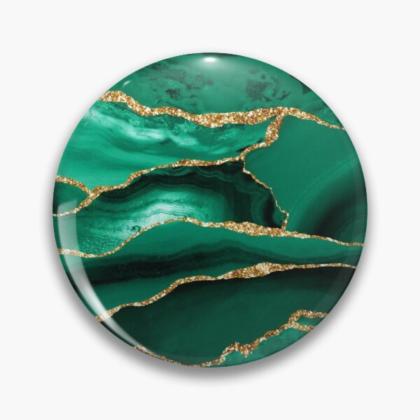 Emerald Green Malachite Marble With Gold Glitter Pin