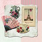 Vintage French Chocolate Victorian Eiffel Tower Lace Frame by Beverly Claire Kaiya