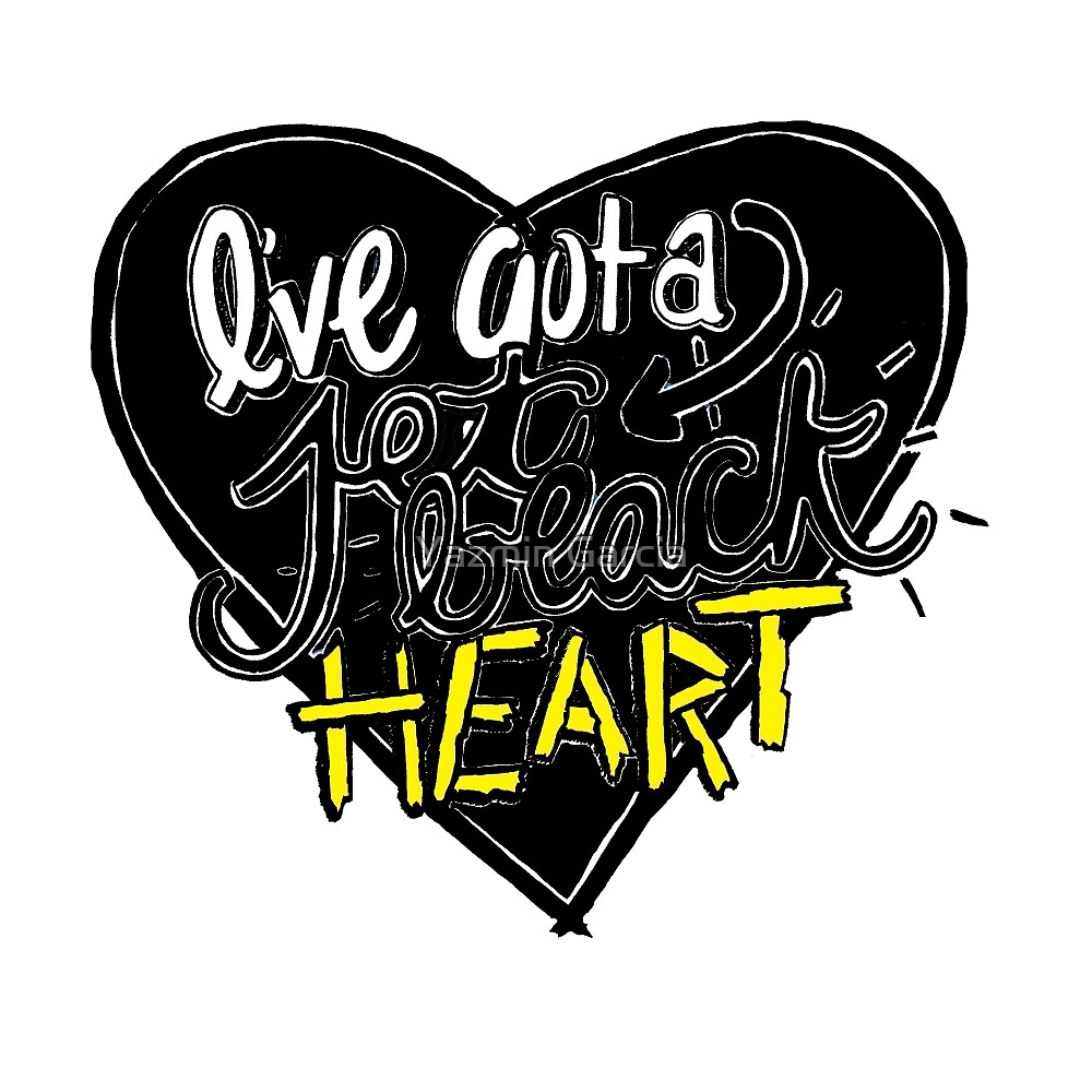 """""""Jet Black Heart"""" By 5 Seconds Of Summer Lyric Drawing by Yazmin Garcia"""