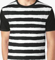 Vector Brush Strokes Black White Pattern Graphic T-Shirt