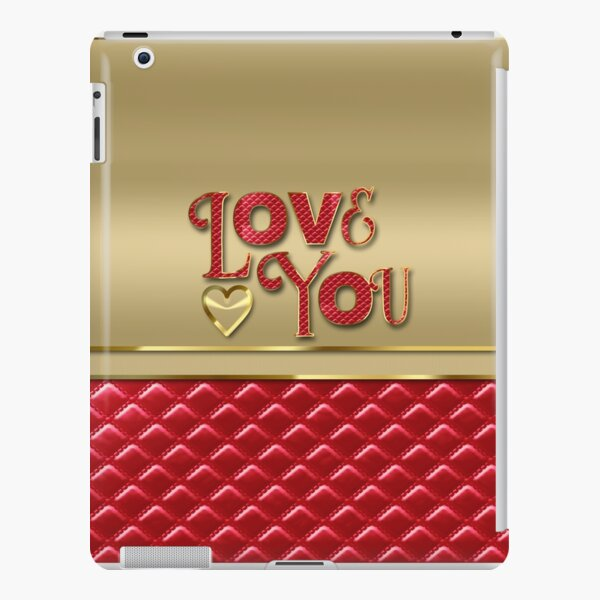 Love You Elegant Metallic Gold Quilted Red Leather iPad Snap Case