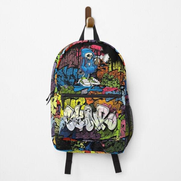 Synr 70s Retro Comic Graffiti Print Backpack