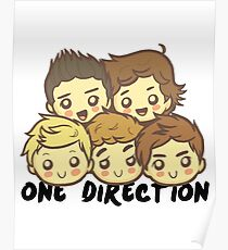 One Direction Cartoony Faces! Poster