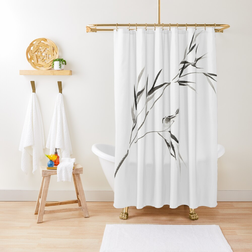 Bird on a bamboo branch Japanese Zen Sumi-e painting on white rice paper art print Shower Curtain