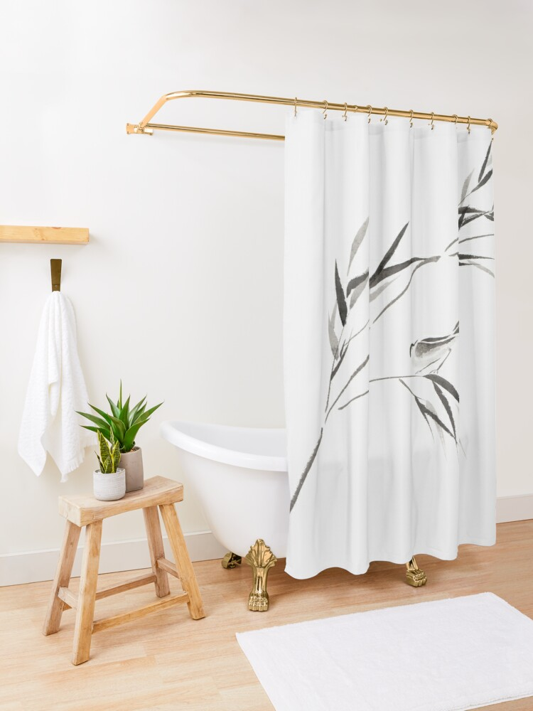 Alternate view of Bird on a bamboo branch Japanese Zen Sumi-e painting on white rice paper art print Shower Curtain