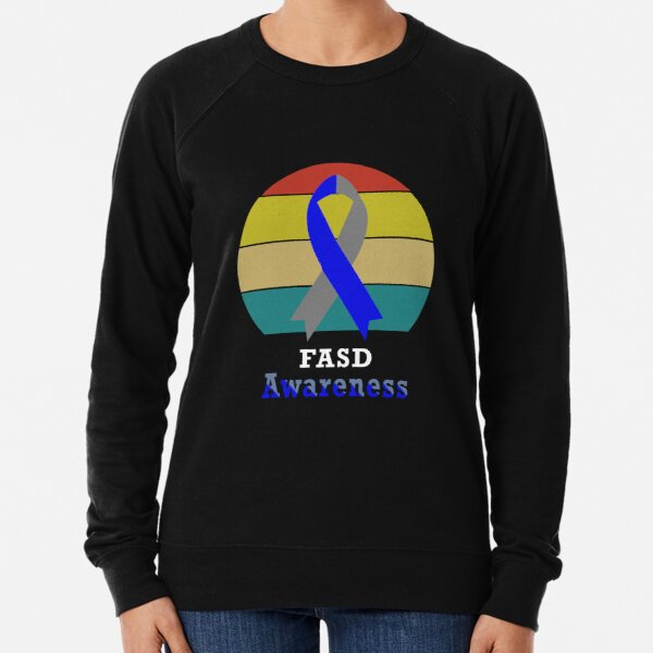 Fetal Alcohol Spectrum Disorder FASD Awareness Vintage With Blue And Silver Ribbon Lightweight Sweatshirt