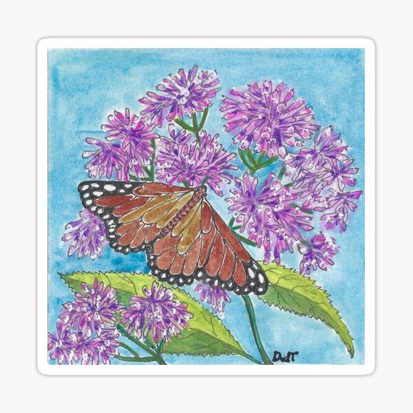 Copper Butterfly on Buddlia Sticker